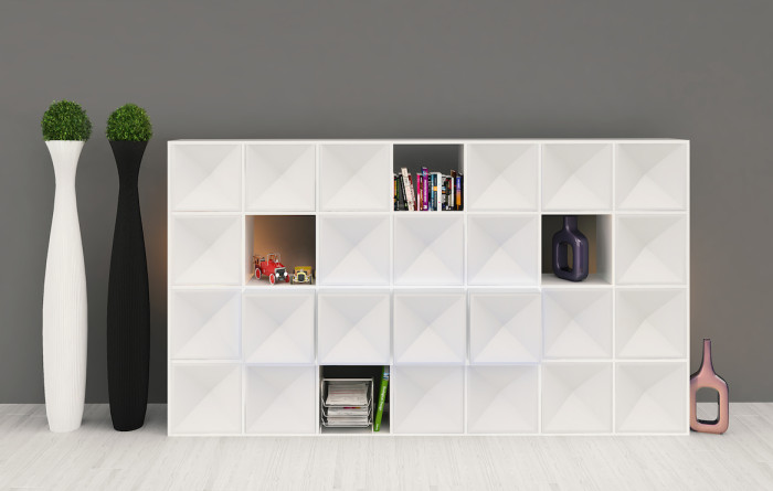 Edge bookcase WHITE mix closed