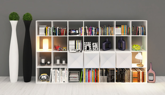Edge bookcase WHITE open