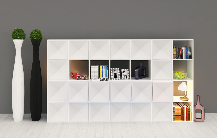 Edge bookcase WHITE semiclosed